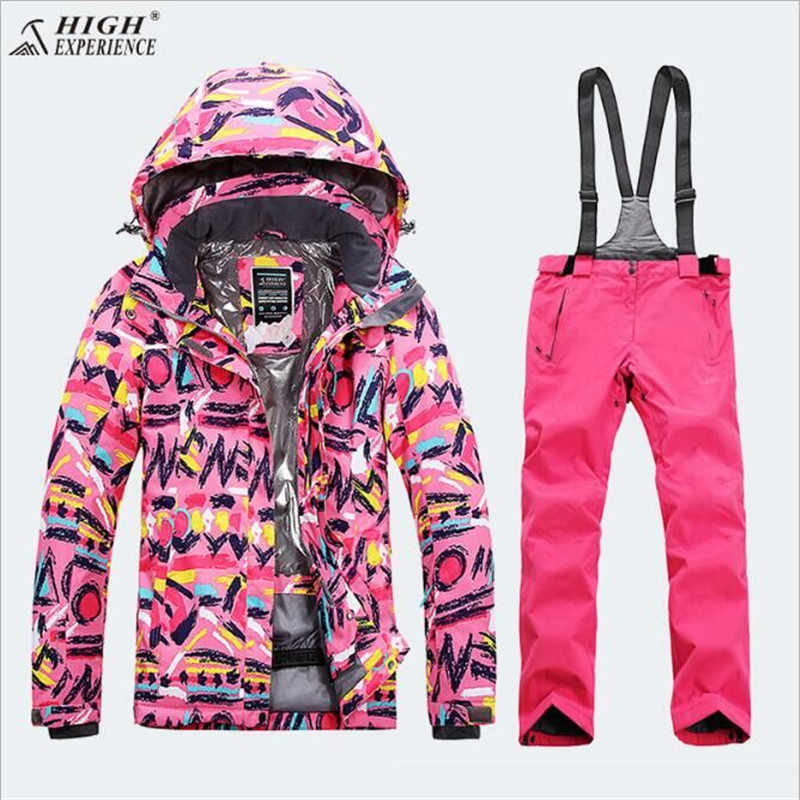 f01d83004a ... Girls Ski Suit Set Winter Children Kids Ski Jacket and pants Sport With Detachable  Hooded Waterproof ...