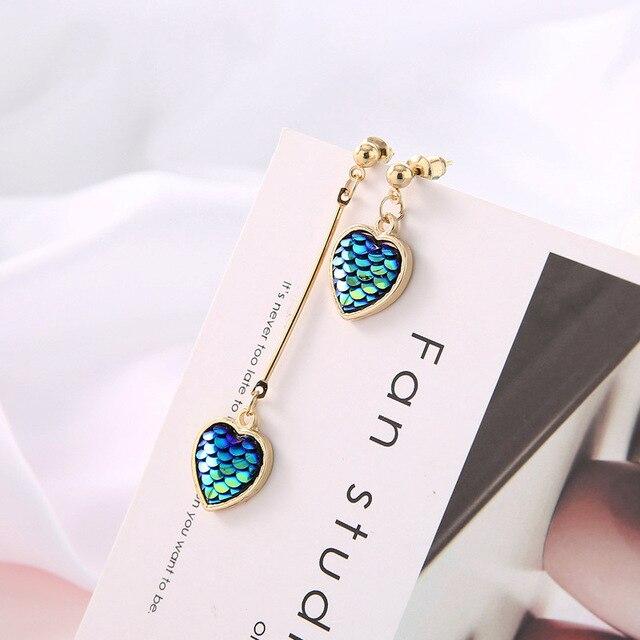 Yobest новые корейские очаровательные серьги в виде русалки с кисточками и сердечками для женщин, модные асимметричные серьги-капли, роскошные ювелирные изделия