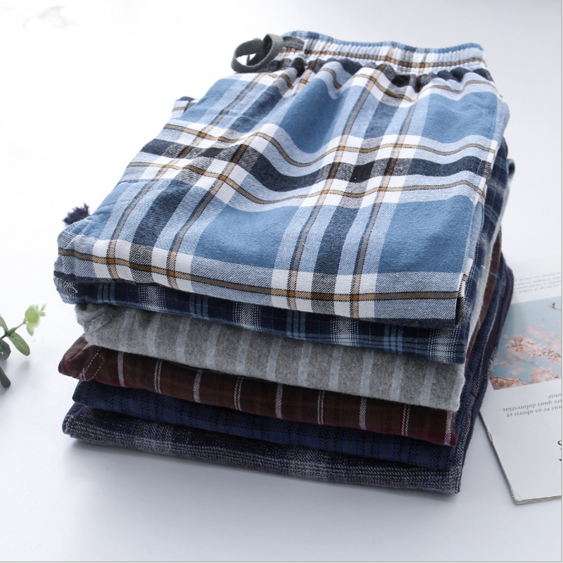 2019 Spring Autumn 100% Cotton Sleep Bottoms Male Plus Size Nighty Trousers Men