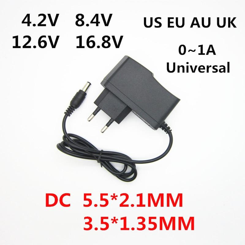 AC 100-240V DC 4,2 V 8,4 V 12,6 V 16,8 V 1A для 18650 Лев литий Батарея Зарядное устройство Мощность адаптер 4,2 8,4 12,6 16,8 вольт 1000MA