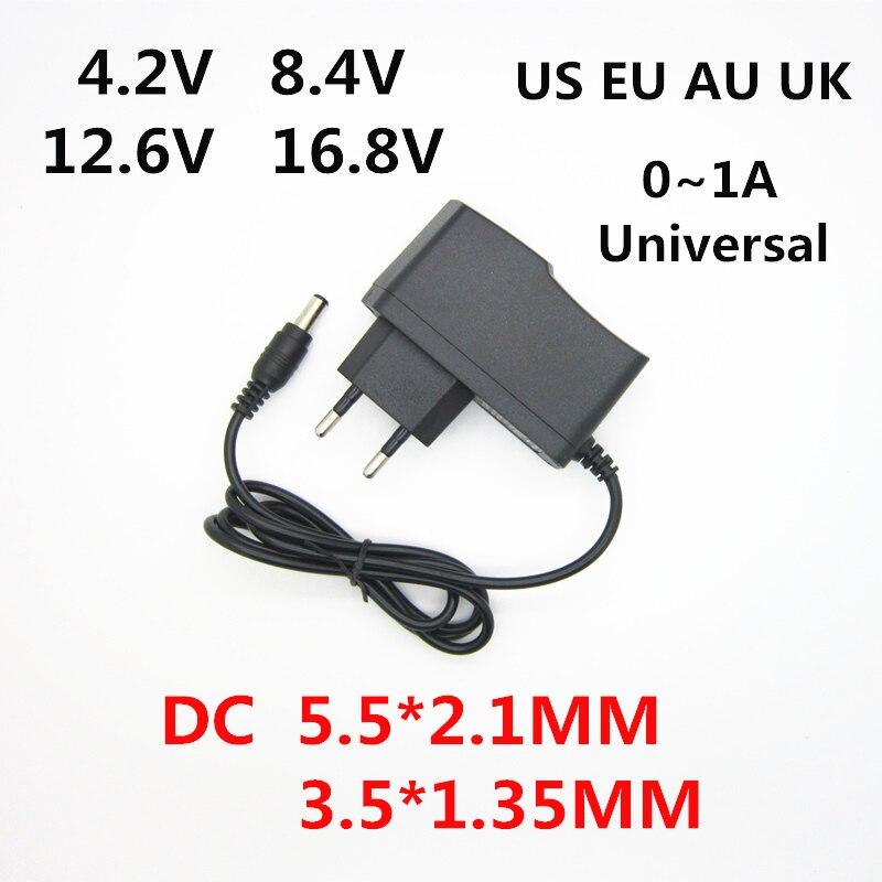 Ac 100-240 v dc 4.2 v 8.4 v 12.6 v 16.8 v 1a 1000ma adaptador fonte de alimentação 4.2 8.4 12.6 16.8 v volt carregador para 18650 bateria de lítio