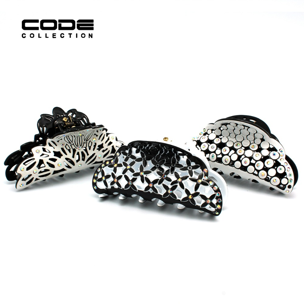 Hollow Floral Acetate Austrian Rhinestone Claw Hair Clips Acrylic