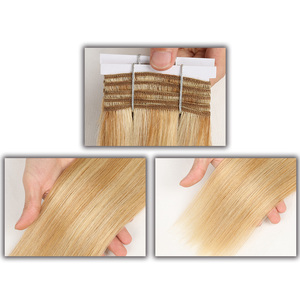 Image 2 - Sleek Double Drawn Straight Hair P6/613 Blonde P27/613 Brazilian Human Hair Bundles 1 Piece Only Remy Extensions Free Shipping
