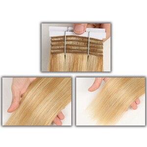 Image 2 - Şık çift çizilmiş düz saç P6/613 sarışın P27/613 brezilyalı İnsan saç demetleri 1 adet sadece Remy uzantıları ücretsiz kargo