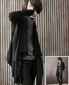 Image 4 - Men gothic punk hip hop hoodie irregular design long cloak japanese streetwear men nightclub singer stage cardigan costume 6XL