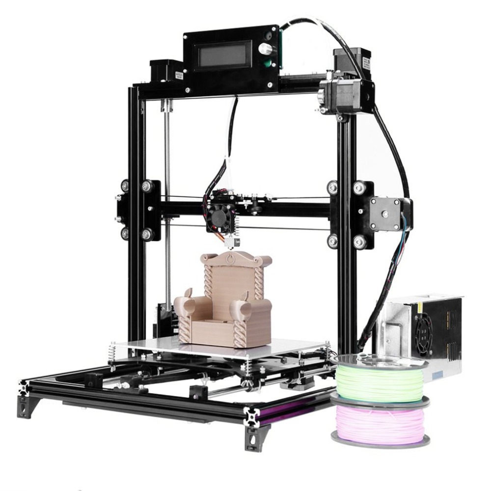 3d Printer Single Extruder Kits Auto leveling Aluminum Frame Heated Bed Two Rolls Filament EU/UK Plug