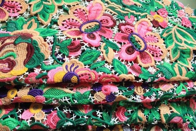 5 yards Multi farbige Venedig Spitze Stoff Antike Gehäkelte Blumen ...