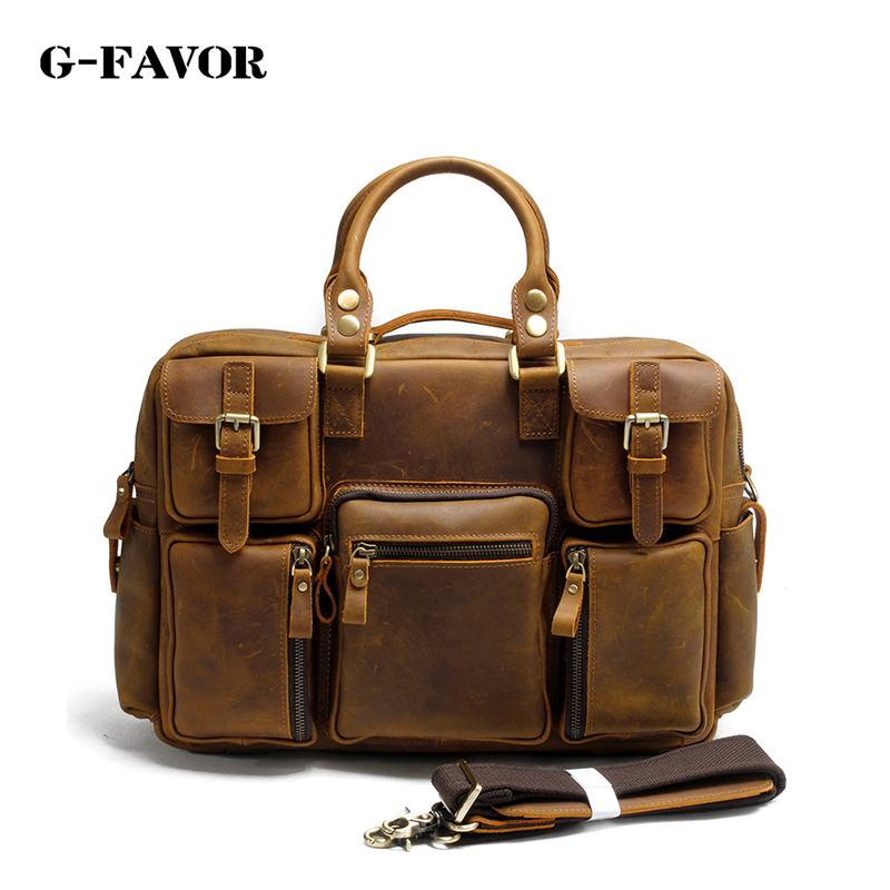 G-FAVOR Vintage Crazy Horse Genuine Leather Men Briefcase Business Bag Large Leather Briefcases Men 15Laptop Case Shoulder Bags ylang vintage crazy horse cowhide briefcases men messenger bags 15 laptop handbags genuine leather briefcase business bag