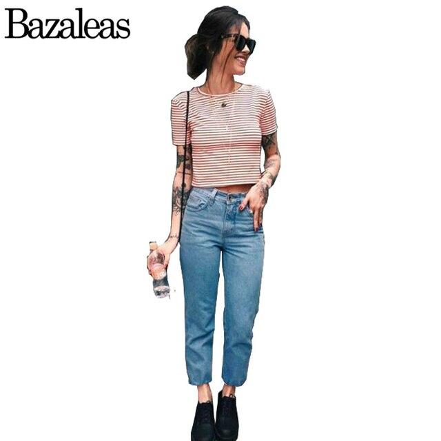 Bazaleas Boyfriend Jeans de Moda Los Pantalones Vaqueros Flojos Mujer Punk Harem Cargo Demin Jeans Casual