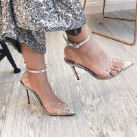 Slingback Women Pumps New Spring 8cm Summer Sandals Transparent heels PVC rivets Wedding Shoes Clear Strap Spike Heels