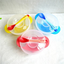 Temperature Sensing Feeding Spoon Child Tableware Food Bowl Learning Dishes Service Plate/Tray Suction Cup Baby Dinnerware Set(China)