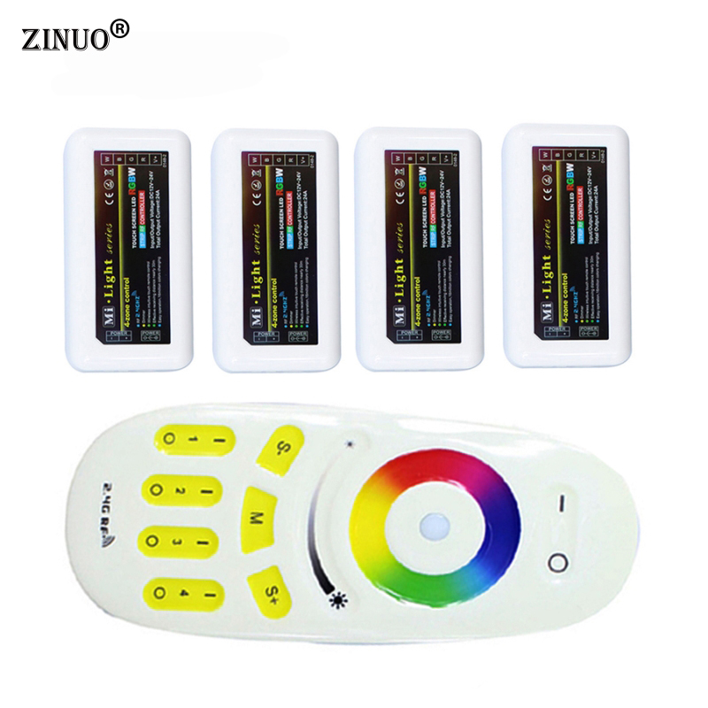 ZINUO 1XRGB(W) Remote+4X RGBW Controller 2.4G 4-zone Mi.light Wireless RF Remote Controller For 3528/5050 RGBW LED Strip Light milight remote wifi 4x rgbw led controller group control 2 4g 4 zone wireless rf touch for 5050 3528 rgbw led strip light