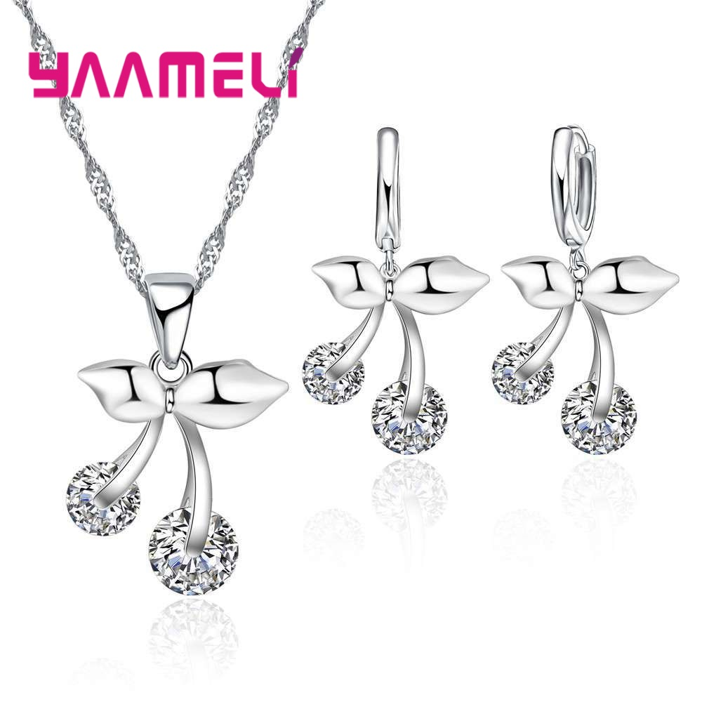 New Arrival 925 Sterling Silver Clear Cubic Zircon Cute Cherry Pendant Women Jewelry Sets Wholesale For Kids Gift