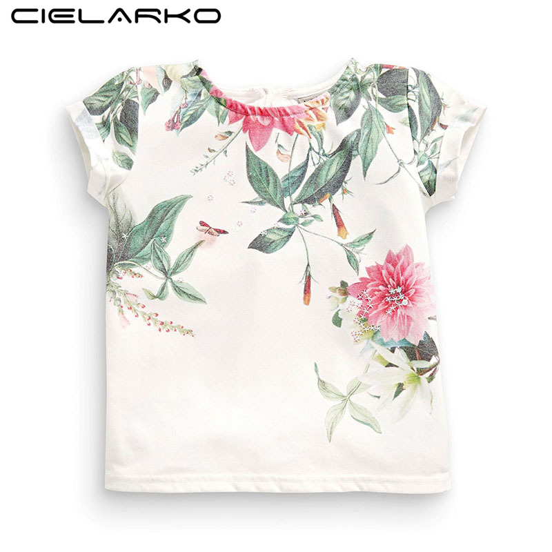 Cielarko Girls Flower T <font><b>Shirt</b></font> <font><b>Basic</b></font> White <font><b>Baby</b></font> Clothing Floral Print T-<font><b>Shirts</b></font> for Little Girl Short Sleeve Fashion Tops Tees image