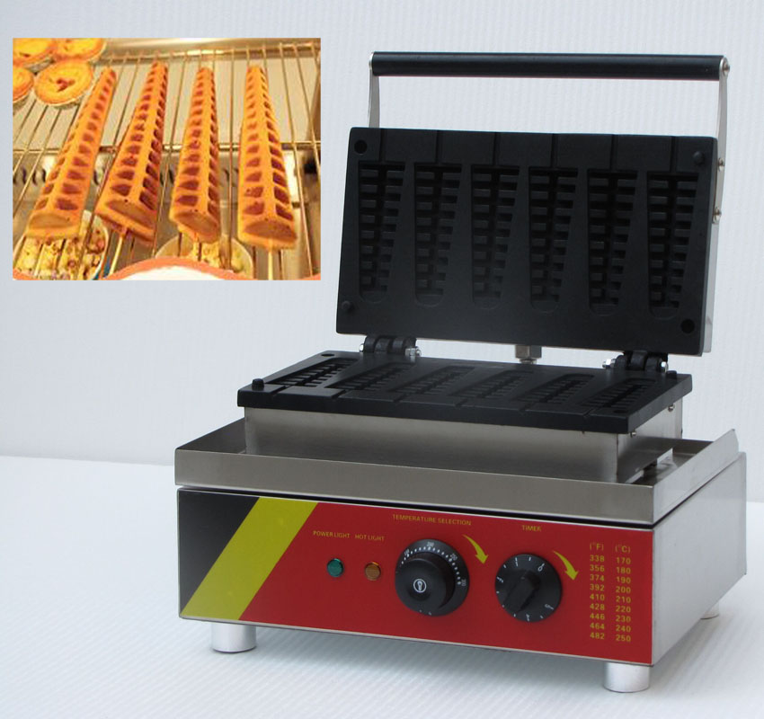Free shipping cost 6 pcs/plate Lolly Waffle Stick Hot dog lolly waffle maker for Commercial Use