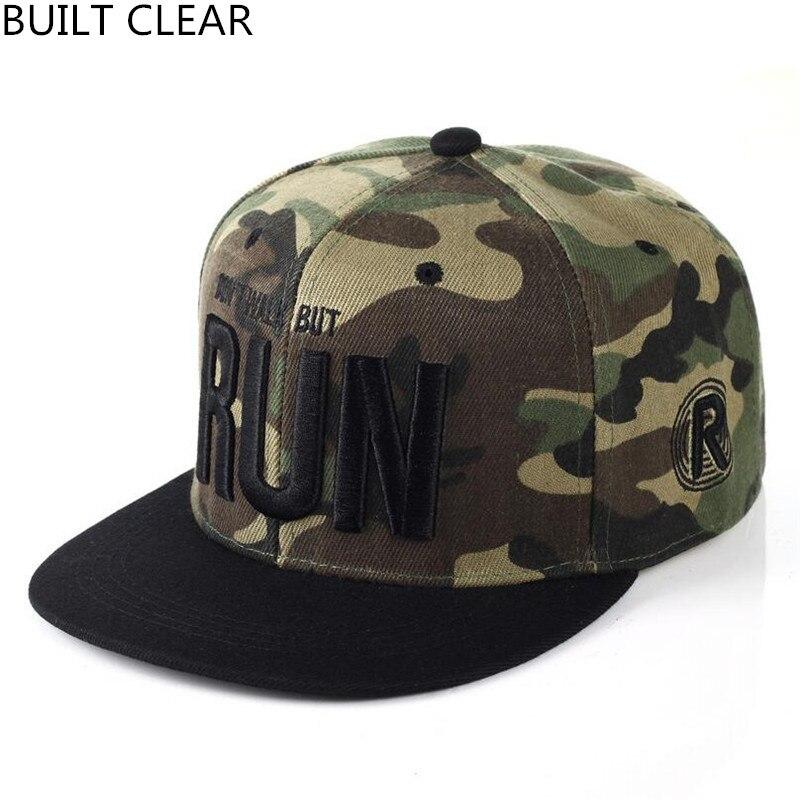 (BUILT CLEAR)  Camouflage Footboard Letter Snapback Baseball Cap Camouflage Hip Hop Hat For Men Women Street Dance Fashion