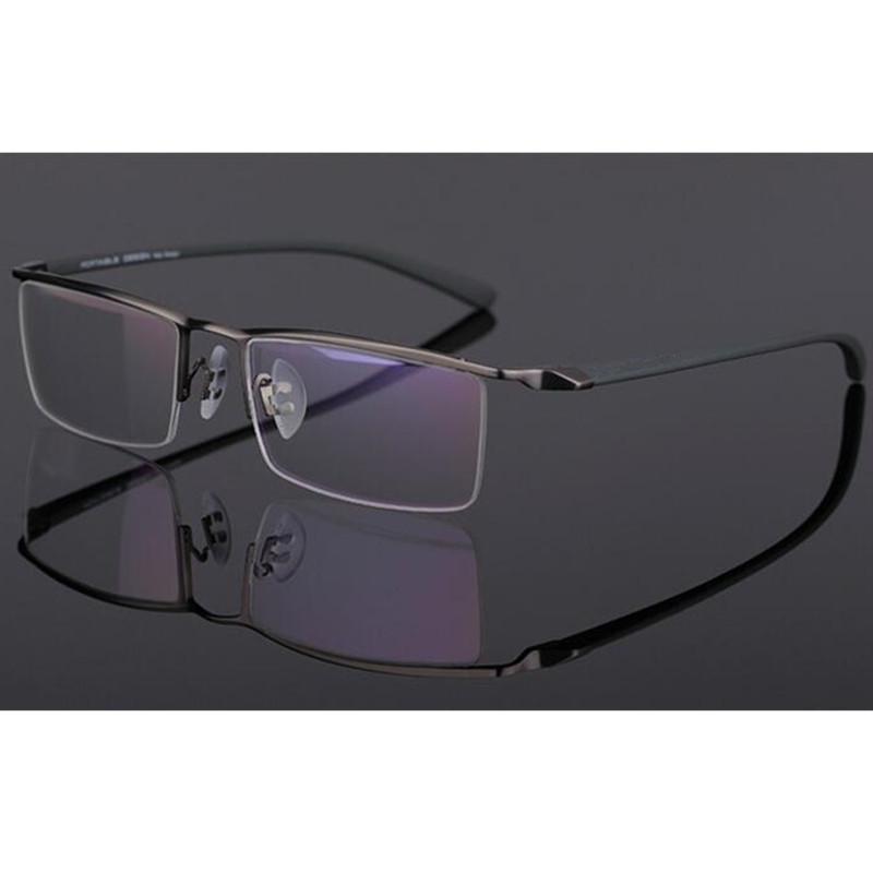 44783d3ba7 TR90 Gunmetal Eyeglass Frame Half Rim Glasses Man Women Spectacles Rx able  Optical E8189