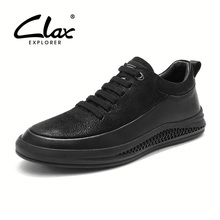CLAX Mens Shoes Fashion Spring Autumn Casual Shoe Male Genuine Leather Walking Footwear Designer Leather Shoe Soft Comfortable clax men s ankle boots genuine leather casual shoes male 2018 spring autumn leather boot soft comfortable walking footwear