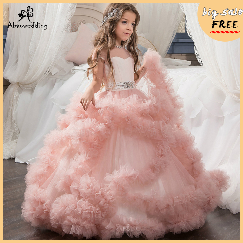 2017 New Flower Girl Dresses Blush Pink First Communion Gowns For Girls Ball Gown Cloud Beaded