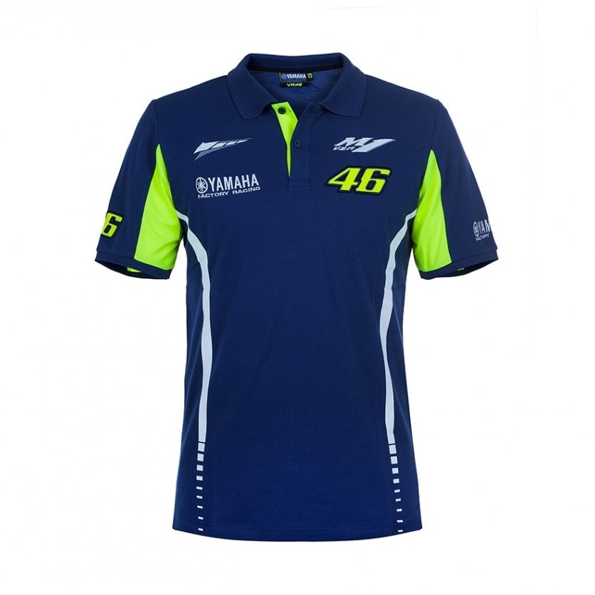 100 Cotton Moto GP VR46 Valentino Rossi for Yamaha Polo Shirt Team 46 The Doctor Blue