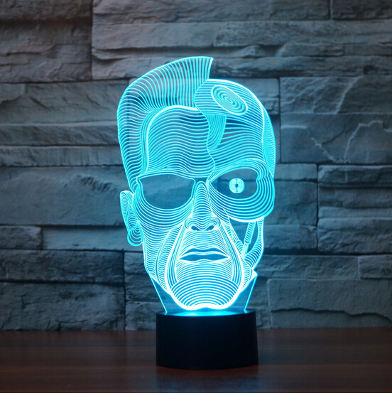 Hot NEW 7color changing 3D Bulbing Light Terminator visual illusion LED lamp creative action figure toy Christmas  star wars bb8 droid 3d bulbing light toys new 7 color changing visual illusion led decor lamp darth vader millennium falcon toy