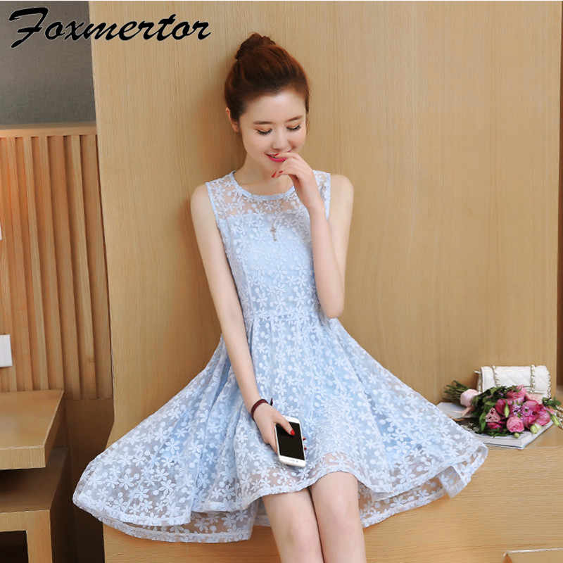 873455b41af ... 2019 New Summer Girl Women Dress Dovetail Mini Wedding Party Short  Dresses Solid Lace Cute White ...