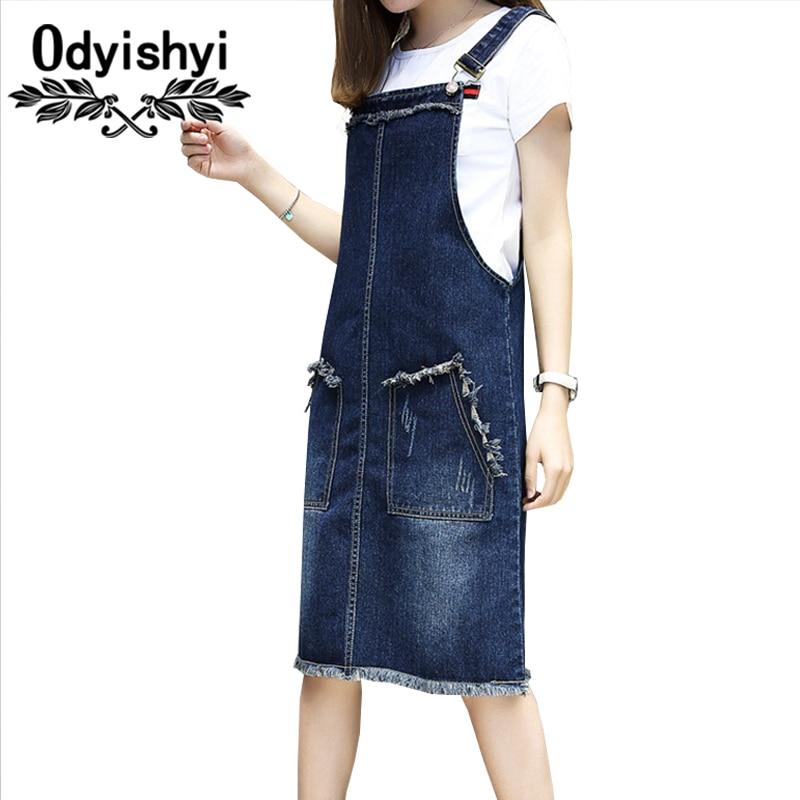 040d3c0c22 5XL Plus Size 2018 New Spring Summer Women Loose Dress Fertilizer Added Fat  Long Denim Straps Bodycon Dresses Blue Female HS278-in Dresses from ...