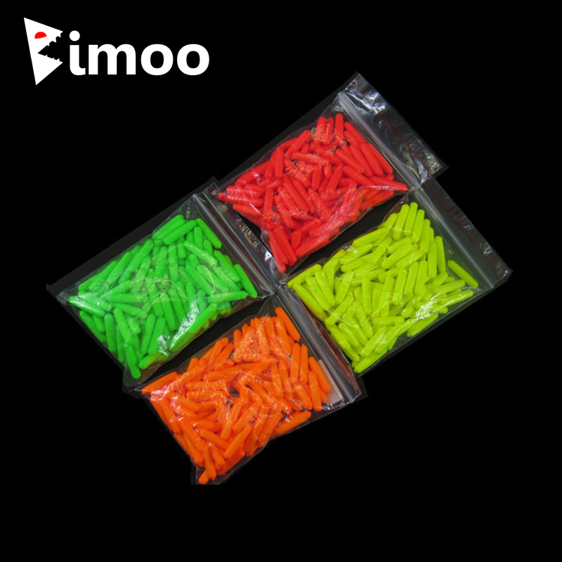 Bimoo 100pcs EVA Cylinder Rig Floats Fishing Float Tip Stop Beans Red Orange Yellow Green Rigging Terminal Accessories