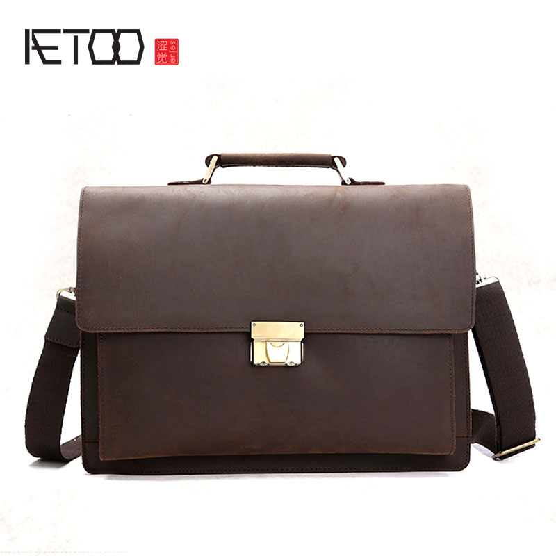 AETOO New mad horse leather men's handbag shoulder bag retro business briefcase leather Messenger bag aetoo the new mad horse leather men bag retro handbags men s leather shoulder messenger business cowhide briefcase computer bag