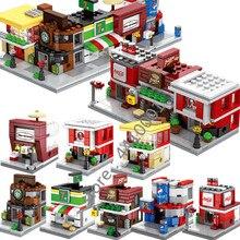 b646c5d2e6491 Legoingly البسيطة مدينة الشارع اللبنات مجموعة الطوب الأطفال كما DIY هدية  للأطفال ماكدونالدز مقهى متجر Modle ألعاب مكعبات