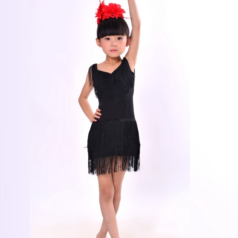 f1d9e5b3490 Detail Feedback Questions about NEW Child Girls Kids Cheap Sexy Black Blue  Red Pink Sequin Fringe Salsa Dancewear Dance Costume Salsa Dance Dresses on  ...