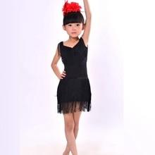 NEW Child Girls Kids Cheap Sexy Black Blue Red Pink Sequin Fringe Salsa Dancewear Dance Costume Salsa Dance Dresses