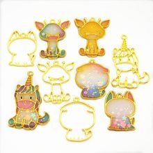 Deer Unicorn Cat Dog Shaped Metal Frame UV Resin Charm Gold Bezel Jewelry Making Tools(China)