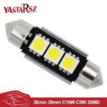 36มิลลิเมตร39มิลลิเมตรC10W C5W 3SMD 3 SMD 5050 LED CANBUSพู่ห้อยหลอดไฟใบอนุญาตรถยนต์จานแสงอัตโนมัติที่อยู่อาศัยภายในโดมโคมไฟสีขาวDC 12โวลต์