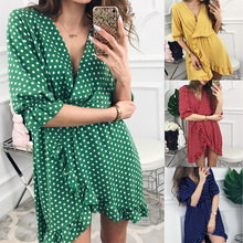 Summer Dress 2019 Women Sexy Deep V-Neck Flower Print Dresses Hem Folds Bohemian Style Mini Ruffle Beach Dress цена в Москве и Питере