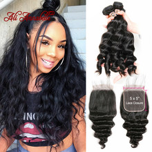 Loose Wave Bundles With Closure Remy Human Hair Weave Bundles With Closure Brazilian 3 Bundles With 5*5 Swiss Lace Closure(China)