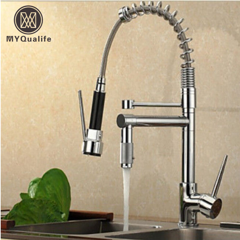 Chrome Finish Dual Spout Kitchen Sink Faucet Deck Mount Spring Kitchen Mixer Tap Kitchen Hot and Cold Water tap swanstone dual mount composite 33x22x10 1 hole single bowl kitchen sink in tahiti ivory tahiti ivory