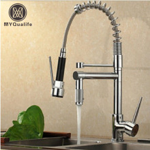 Chrome Finish Dual Spout Kitchen Sink Faucet Deck Mount Spring Kitchen Mixer Tap Kitchen Hot and Cold Water tap