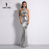 Missord 2017 Sexy High Neck Off Shoulder High Waist Sequin Dresses Female Backless Irregular Maxi Elegant