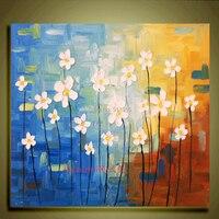 มือทาสีฟ้าน้ำมันจิตรกรรมนามธรรมมีดสีขาวดอกไม้จิตรกรรมตกแต่งบ้านรูปภาพภาพจิตรกรรมฝาผนั...