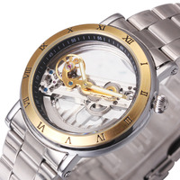 Men Retro Casual Mechanical Wrist Watch Silver Stainless Steel Band Male Automatic Clock Transparent Dial With