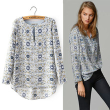 New 2015 Massimo Women Long Sleeve Cotton Blouse Casual Print Shirt Tropical Blusas Femininas Laides Tops