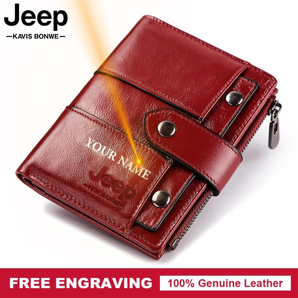Free Engraving 100% Genuine Leather Women Wallet Coin Purse Small Card Holder Clutch PORTFOLIO Portomonee Red Slim Walet Pocket