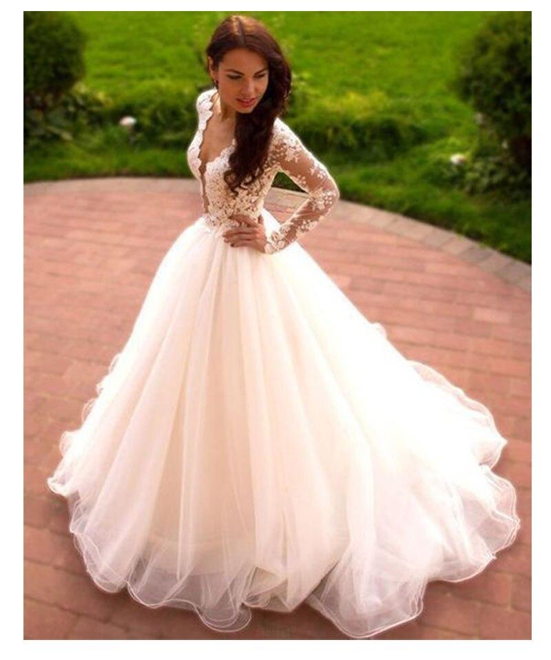 72cedfdb4ba7947 Лори Свадебные платья с открытыми плечами 2019 Vestido de novia V образным  вырезом одежда длинным рукавом индивидуальный заказ кружево