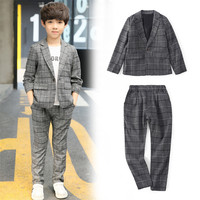 4 12 y boys blazers kids set children suits boys formal long sleeve plaid boys suits for weddings fashion children clothes
