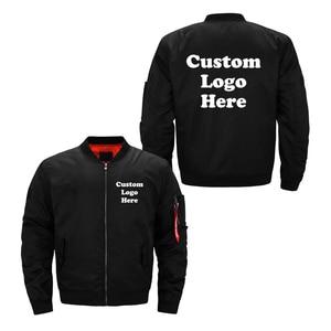 Image 1 - 미국 크기 사용자 정의 로고 디자인 남자 비행 자 켓 diy 인쇄 지퍼 코트 thicken jacket unisex outerwear