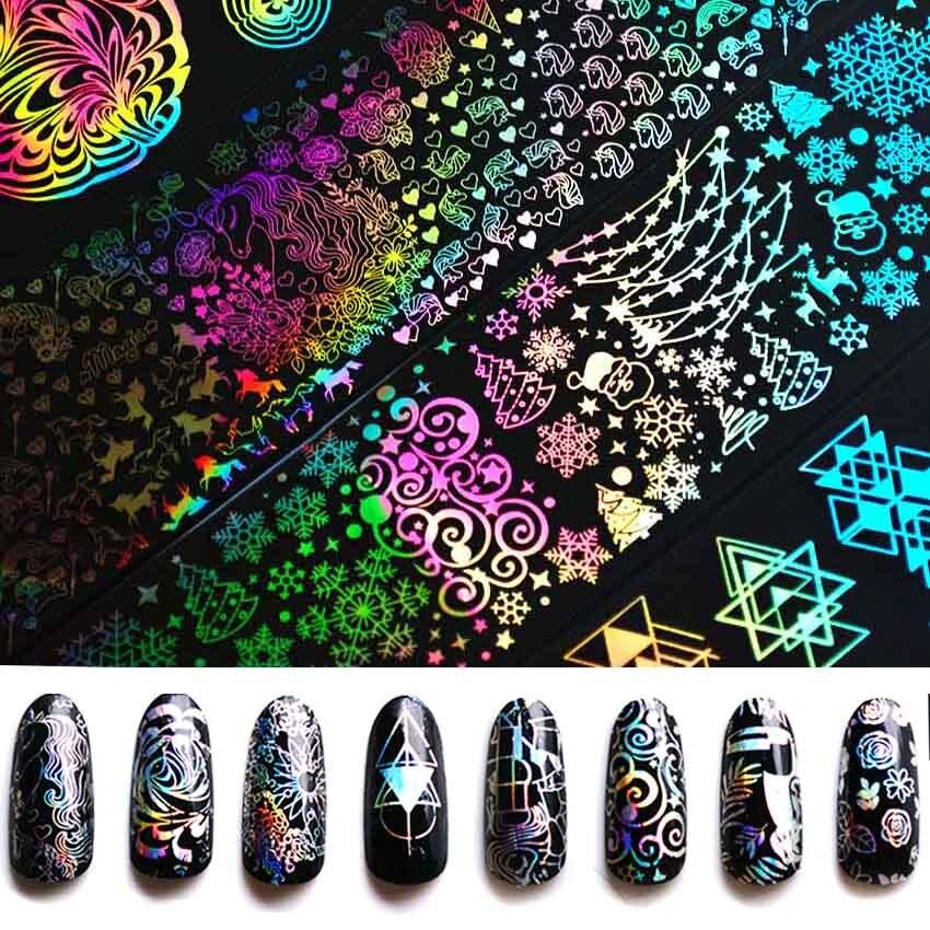 8 Pcs 4*20cm Holographic Foil For Nail Unicorn Dreamcatcher Geometric Nail Foil Design Nail Art Transfer Sticker Decals ZJT3005