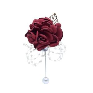 Image 4 - Seide Rose Blume Bräutigam Bouton Braut Handgelenk Corsage Mann Anzug Brosche Frauen Hand Hochzeit Blumen Party Dekoration XF08