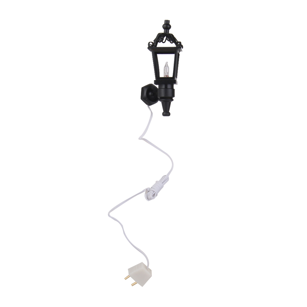 1:12 Scale Dollhouse Miniature Wall Lamp Light Model, Outdoor Wall Lantern in Black Finish, for Doll House Garden Yard Decor(China)