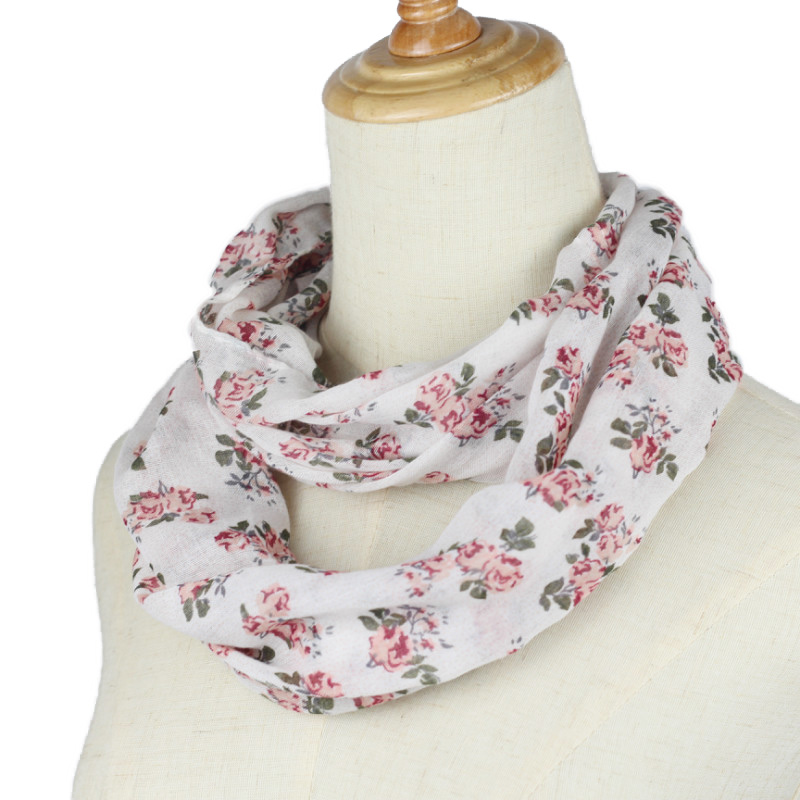 Floral Loop Scarf Women Fashion Sping Autumn Winter Flower Printed Snood Ring Scarves Lady Twill Viscose Infinity Scarfs